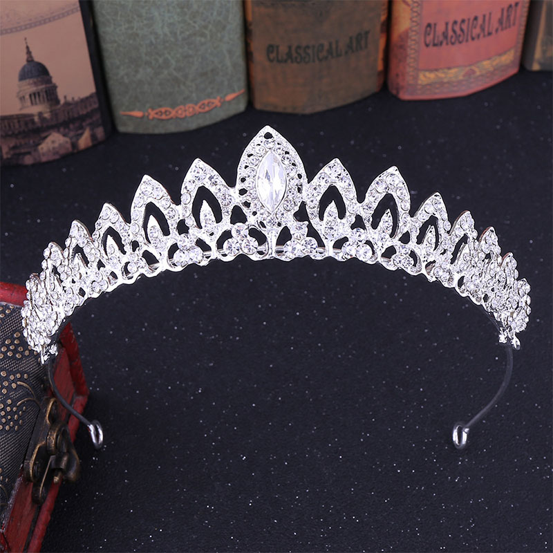 Silver Leaves Shape Tiaras de Noiva Alloy Rhinestones Bridal Small Crown Headpiece Hair Jewelry Women Wedding Party Accessories
