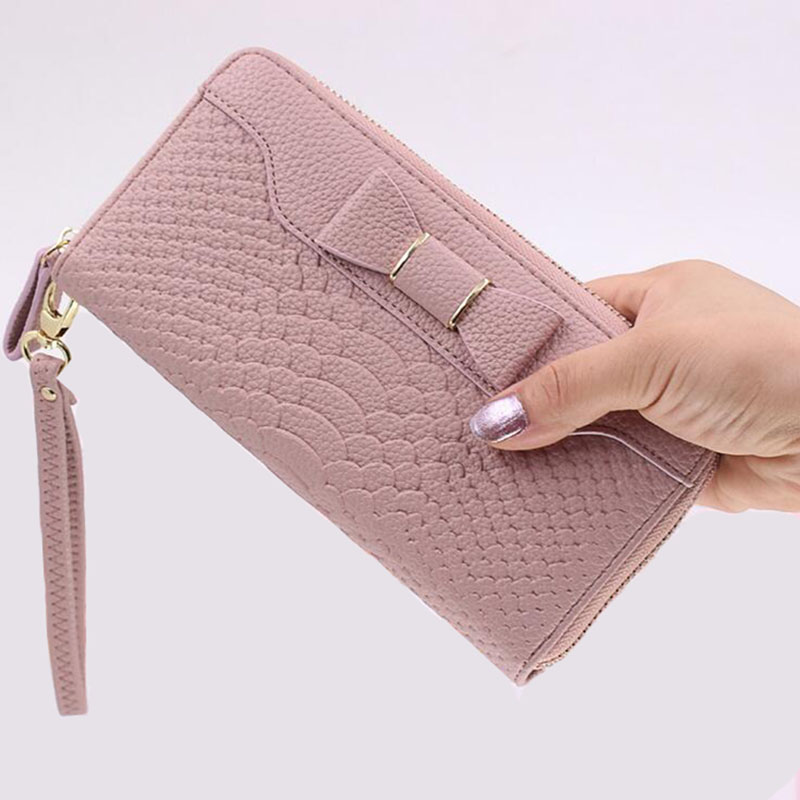 Hot Sale Women Wallets Purse Female wallet pu Leather Lady Long Wallets Candy Color Bow  Coin Card holder Clutch Bag female