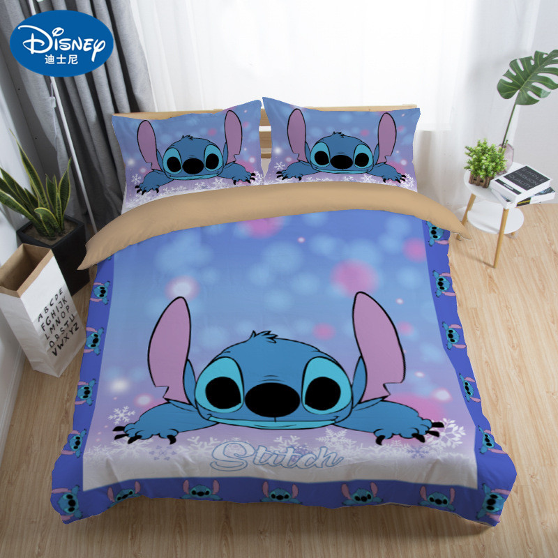 Disney Stitch Printed Bedding Set Home Textile Cartoon  Single Twin Full Queen King Size Bedclothes Children's Boy Girl Bedroom