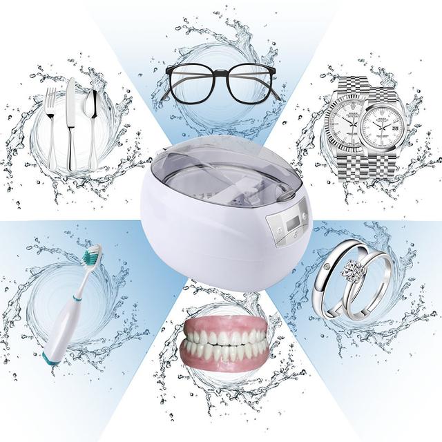 Ultrasonic Bath Cleaner 0.75L Tank Baskets Jewelry Watches Injector Ring Dental PCB 35W 42kHz Digital Mini Ultrasonic Cleaner