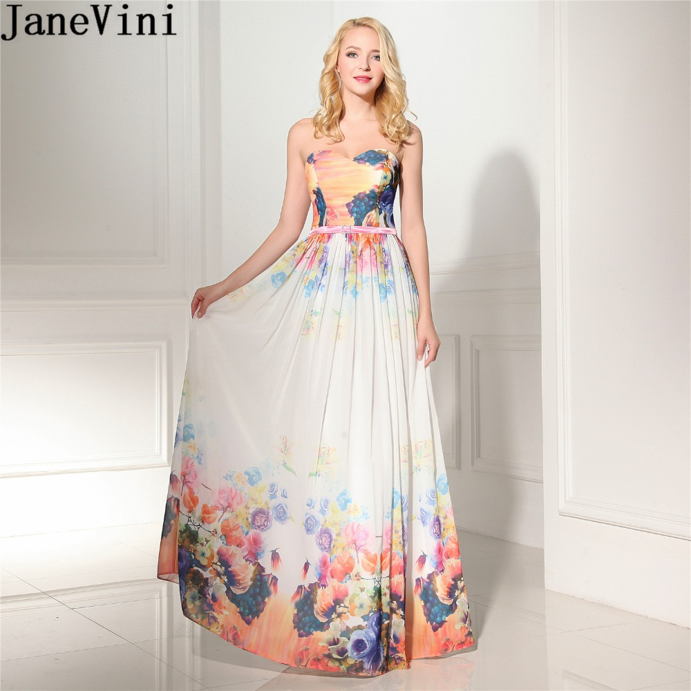 JaneVini 2018 Colorful Ladies Wedding Party   Dress   Plus Size Sweetheart Floral   Bridesmaid     Dresses   Long Formal   Dress   Floor Length