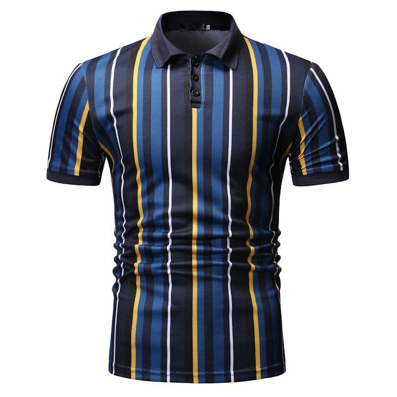 Polo   Collar Summer Tops Camisa masculina Business Social Shirt Men's Clothing Vertical stripes Men   Polo   Shirt Short sleeve
