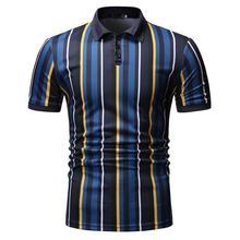 Polo Collar Summer Tops Camisa masculina Business Social Shirt Mens Clothing Vertical stripes Men Short sleeve