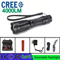 Z30 led flashlight torch CREE XML-T6 4000 lumens adjustable light torch3A 18650 battery rechargeable torch car charger gift box