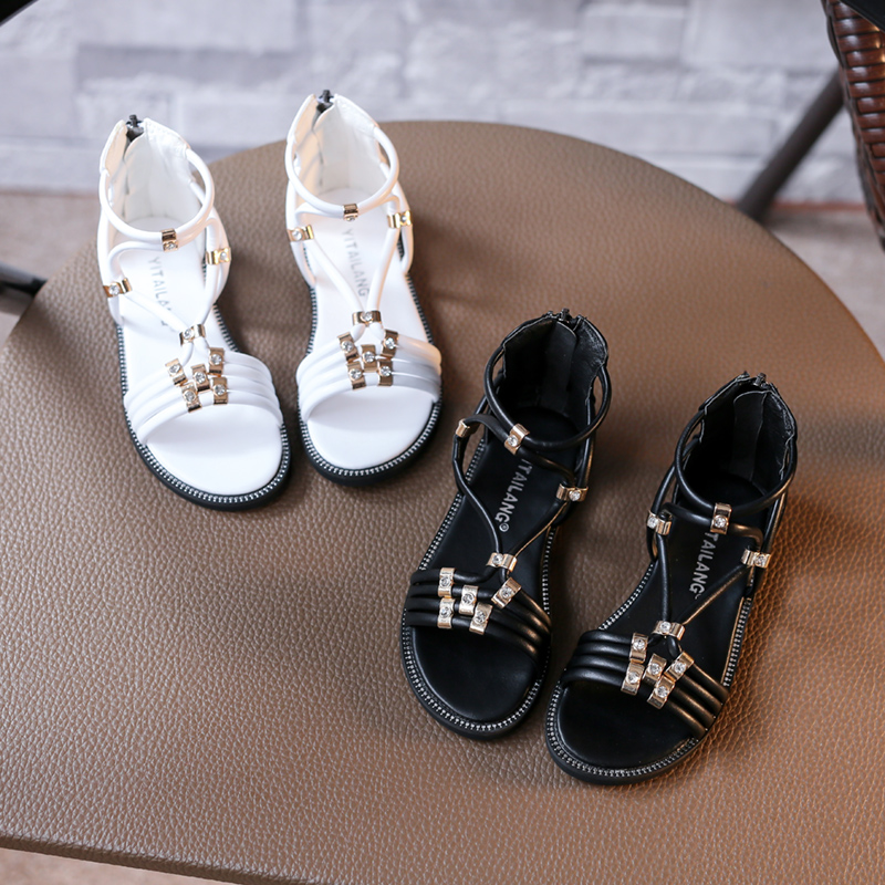 New Gladiator Spring Summer Children Shoes Zipper Closure High top Fashion  Summer Girls Sandals White Black-in Sandals from Mother   Kids on  Aliexpress.com ... eb66024bdb12
