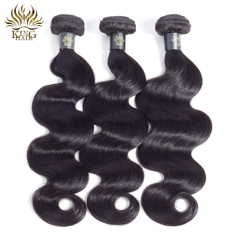KING HAIR Peruvian Remy Hair Body Wave Bundles Naturlig Sort Farve - Menneskehår (sort) - Foto 2
