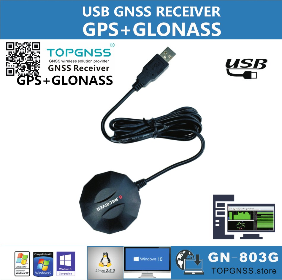 TOPGNSS USB GPS GLONASS  Receiver Module Antenna GN-803G USB GNSS GPS GLONASS Receiver GMOUSE Industrial Application