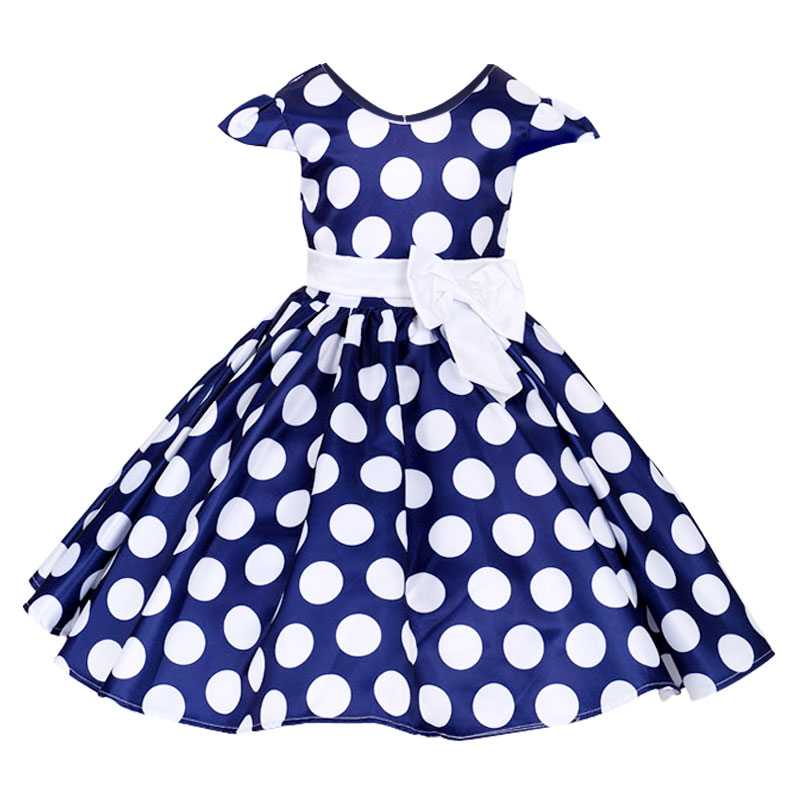 2017 New Baby Girl Short Sleeve Bow Princess Dress Children's Kids Polka Dot Big bow Party Wedding Tutu Dresses Costumes