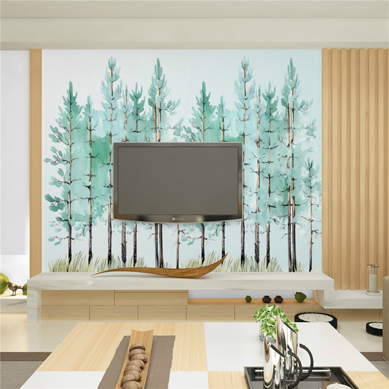Modern simple bedroom living room wallpaper small fresh green tree Nordic TV background wall wallpaper murals