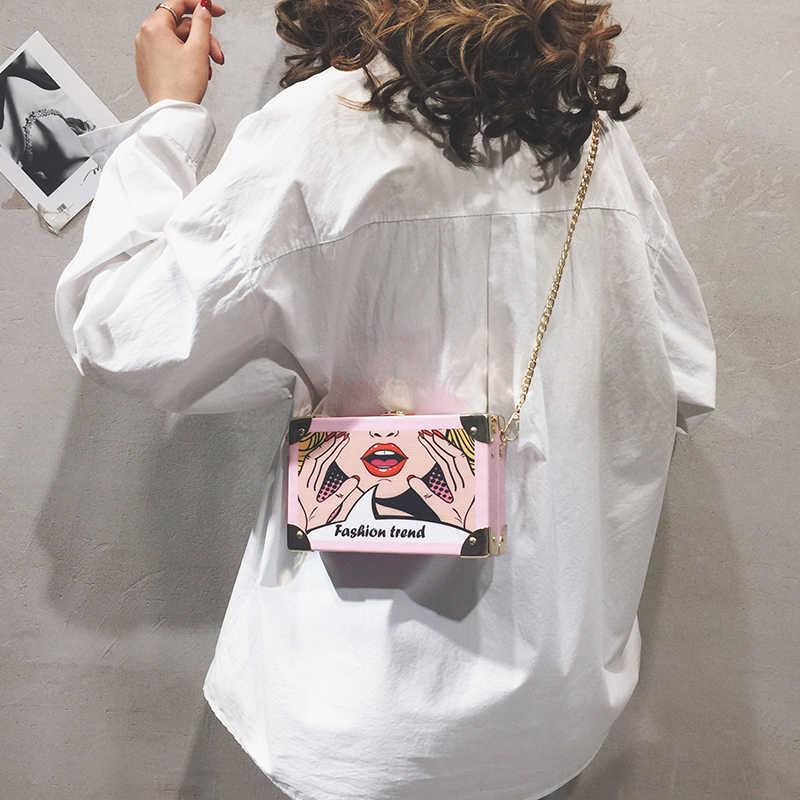 Модная женская сумка-клатч в металлическом угловом стиле с рисунком героев из комиксов, сумка через плечо, мини-сумка через плечо, сумочка с клапаном