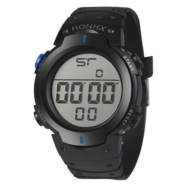 Mens Watches Fashion Waterproof Men's Boy LCD Digital Stopwatch Date Rubber Sport Wrist Watch Waterproof Relogio Clock reloj S7