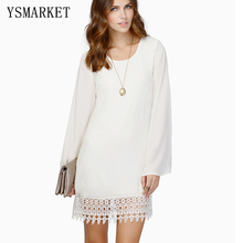 Фотография White Lace Patchwork Elegant Women Office Dress Long Sleeve Chiffon Mini Dress O Neck Solid Loose Party Ladies Dresses e1113