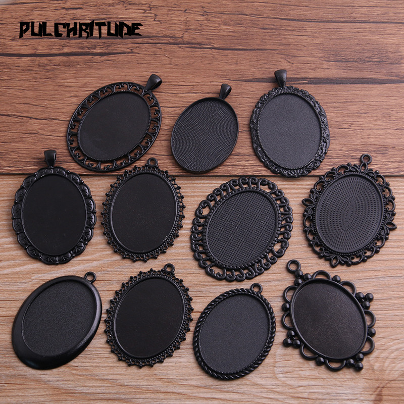 PULCHRITUDE 2pcs 30*40mm Inner Size Black Plated 10 Style Big Oval Cabochon Base Setting Charms Pendant Necklace Findings P6591