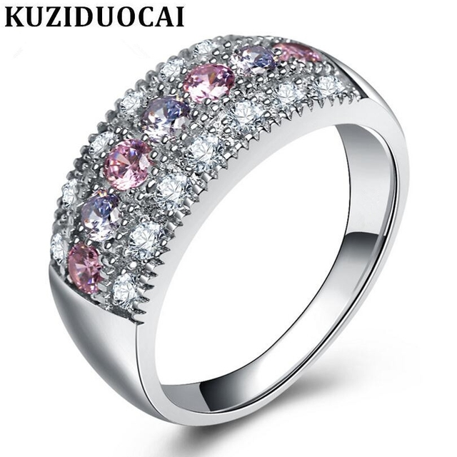 Kuziduocai New Fashion Jewelry Arc Stainless Steel Zircon Colorful Wedding Rings
