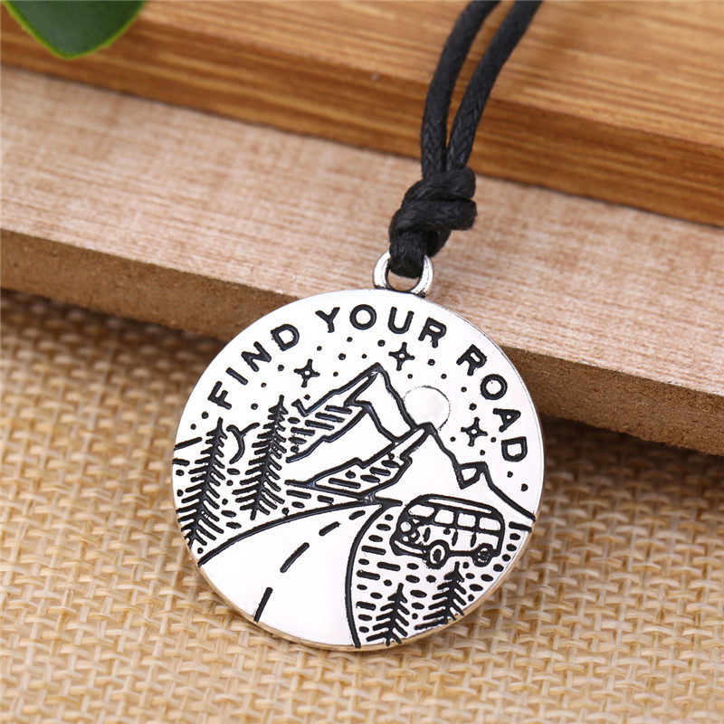 Skyrim Motivational Tag Charm Find Your Road Message Pendant Necklace Adjustable Wax Cord Chain Unique Jewelry Best Friend Gifts image