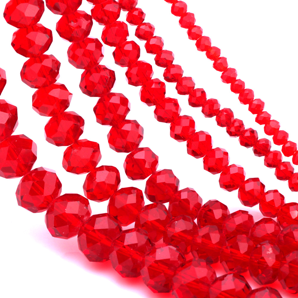 OlingArt 3 4 6 8 10mm Round Glass Beads Rondelle Austria faceted crystal red color Loose bead 5040 DIY Jewelry Making in Beads from Jewelry Accessories