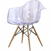 1129%Simple modern home back dining chair plastic transparent crystal lounge chair modern meeting office lounge chair