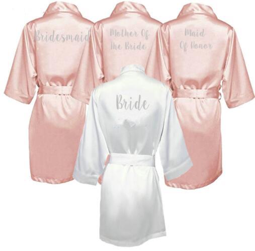 dark pink robe silver letter kimono satin pajamas wedding robe bridesmaid sister mother of the bride robes