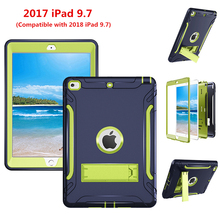 NTSPACE Armor Shockproof Cases Cover For 2017 2018 Apple iPad 9.7 inch Heavy Duty PC + Silicone Full Body Protective Case