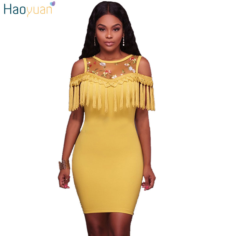 HAOYUAN Women Summer Bodycon Dress 2018 Sleeveless Tassel Vestidos Yellow Blue Black Sexy Dresses Off the Shoulder Wrap Dress