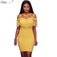 HAOYUAN Women Summer Bodycon Dress 2017 Sleeveless Tassel Vestidos Yellow Blue Black Sexy Dresses Off The