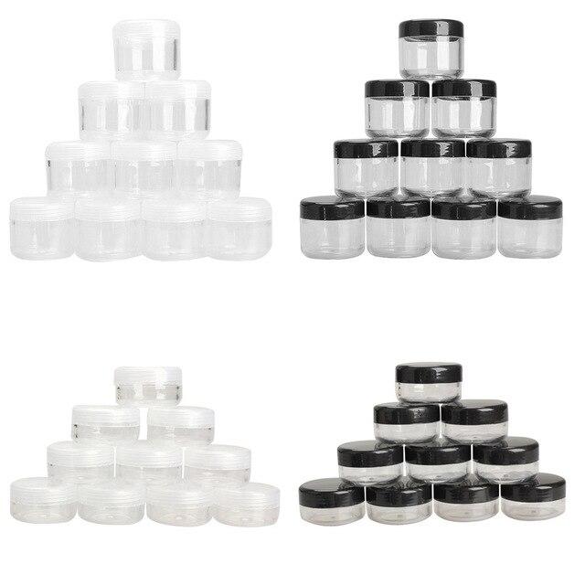 10 Teile/paket Leere Kunststoff Klar Kosmetische Jar Pot Lidschatten Make Up Gesicht Creme Container Mini Box Probe Töpfe Gel Box 10/20g