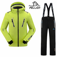 DHL Free Pelliot Brand -30 Degree Men's Ski Suits Outdoor Snowboard Jacket Thicken Pants Waterproof 10000MM Breathable 10000GM