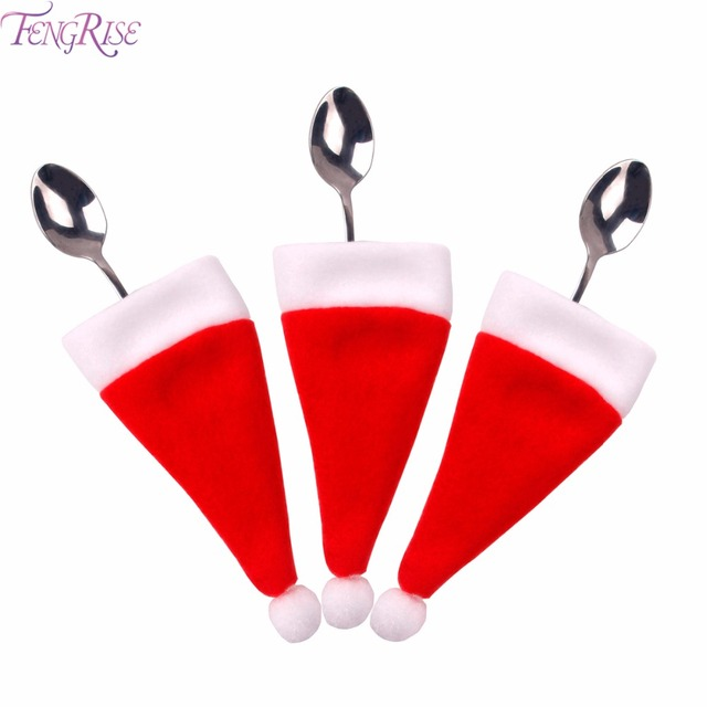 fengrise 10pcs santa claus hat christmas silverware holder christmas decrations for home dinner table decoration new - Christmas Silverware Holders