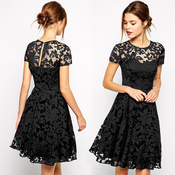 Aliexpress.com : Buy New 2015 Dress with short sleeves Round ...