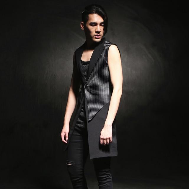 HOT ! 2016 new sleeveless medium-long vest outerwear slim fashion vest top hairstylist nightclub clothing