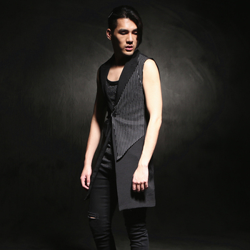 Hot ! 2020 New Sleeveless Medium-long Vest Outerwear Slim Fashion Vest Top Hairstylist Nightclub Clothing