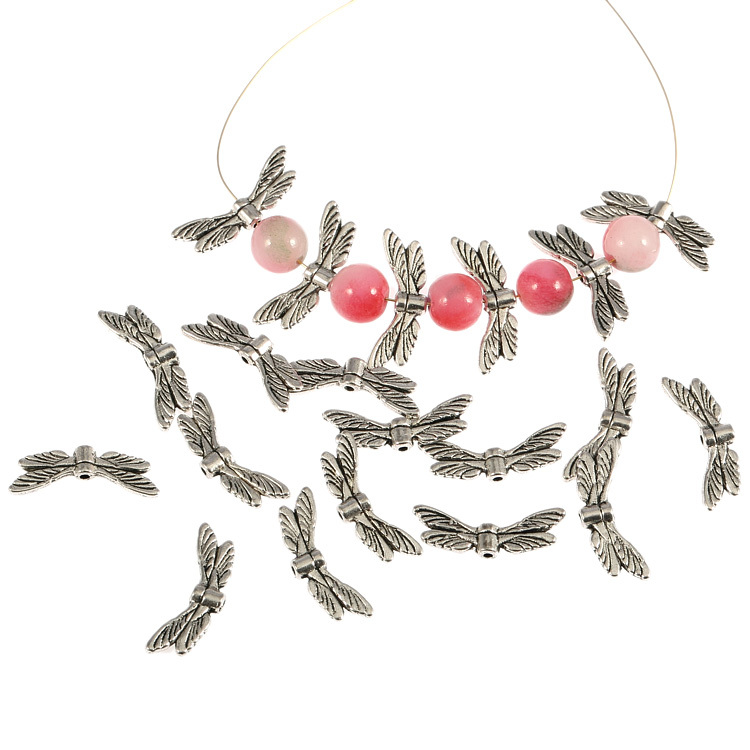 20Pcs Dragonfly Wings Antique Tibetan Silver Charms Spacer Beads Jewelry Component 20*6mm