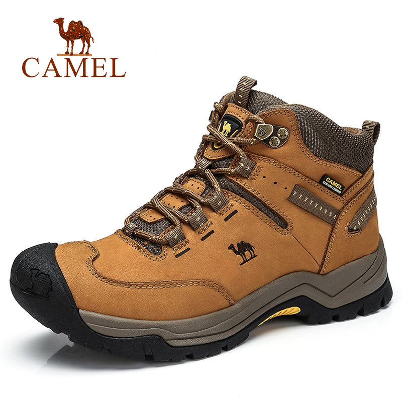 CAMEL Cow Leather Outdoor High Top Hiking Shoes For Men Antiskid Breathable Massage Climbing Trekking Walking