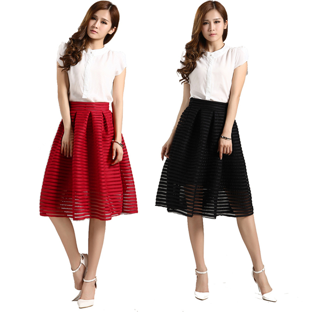 524f4f5f4 High Waist Vintage Pleated Midi Skirt Black Red Long Mesh Skirt Hollow Out Skirts  Womens Summer