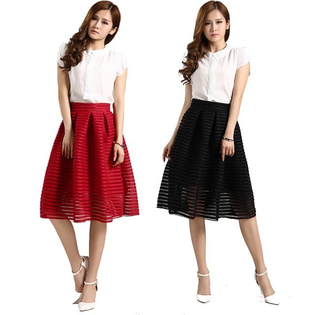 486de1dd87 High Waist Vintage Pleated Midi Skirt Black Red Long Mesh Skirt Hollow Out Skirts  Womens Summer