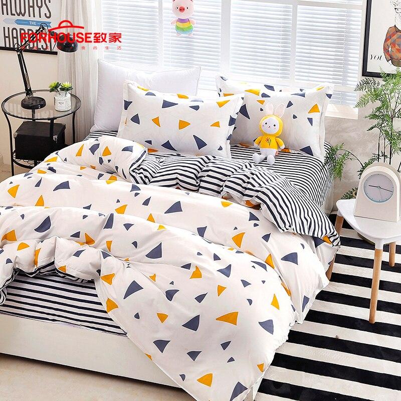 4 pièces/ensemble ensemble de literie classique 3 taille housse de couette ensemble drap de lit couvre-lits couvertures jeu d'oreillers pastorale ponçage