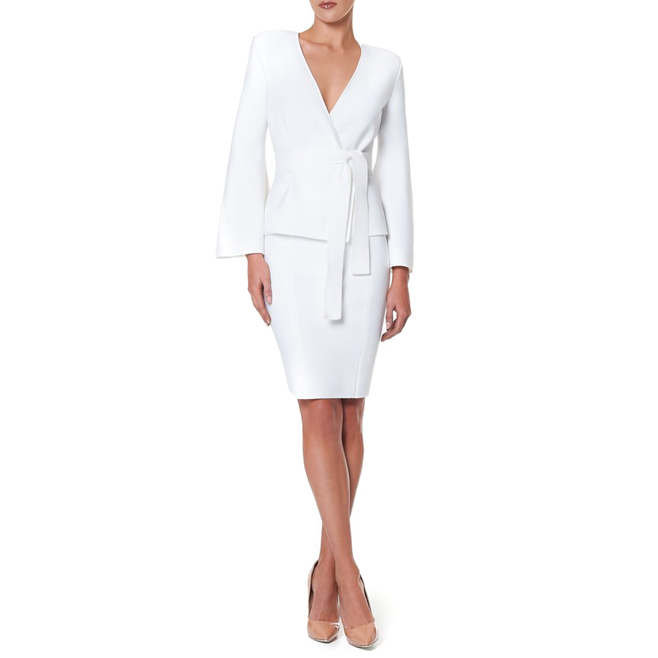Adyce Celebrity Party Bandage Dress Women 2019 New Spring Sexy White Bodycon Long Sleeve Deep V Neck 2 Two Pieces Sets Vestidos-in Dresses from Women's Clothing    1