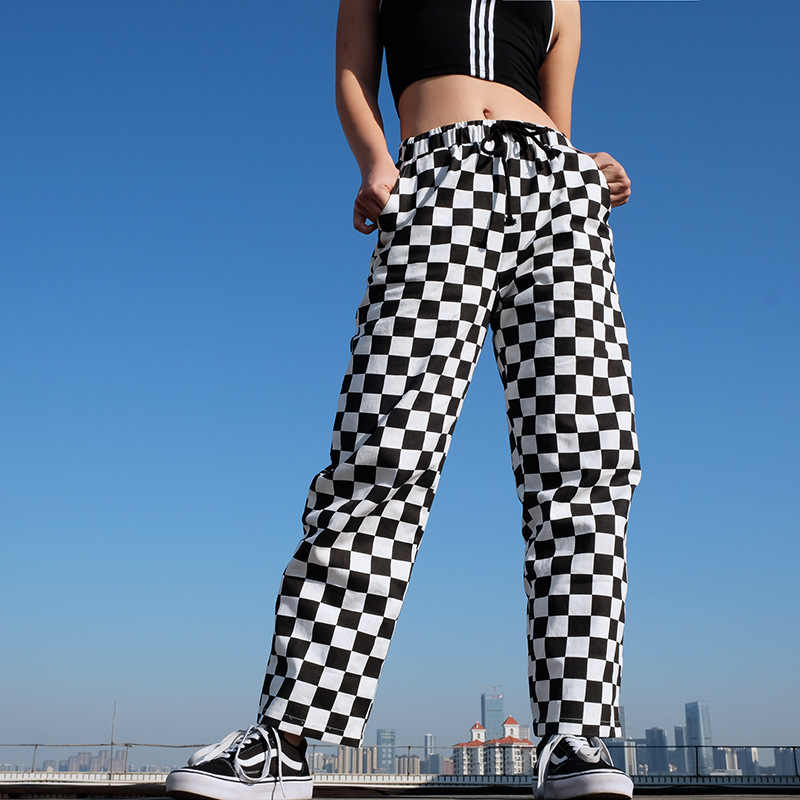 Black and White Plaid Pants Womens High Waist Checkered Straight Pants Casual Loose Fashion Trousers Pantalon Femme Sweatpants