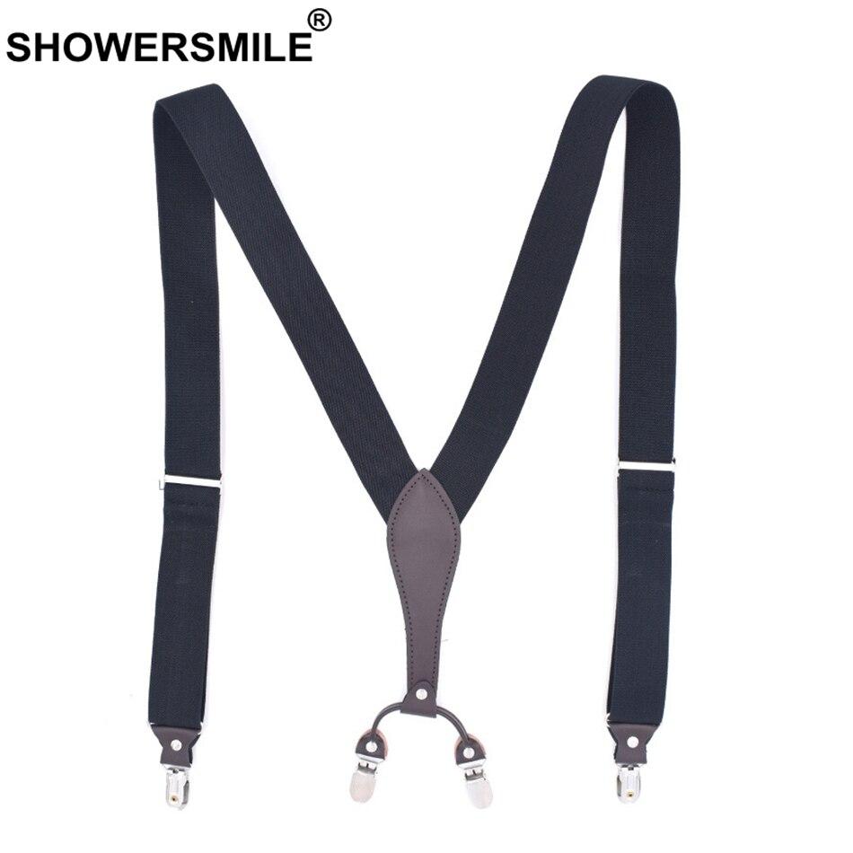 SHOWERSMILE Suspender Plaid Men Elastic Braces Suspenders Brown Y Back 4 Clips Suspenders Adjustable Casual Male Pants Straps