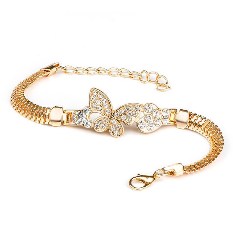 QCOOLJLY Female Jewellry Accessories Multi-Designs Gold Color Alloy Crystal & Rhinestone Flash Cuff Chain Wrap Bracelet Bangle