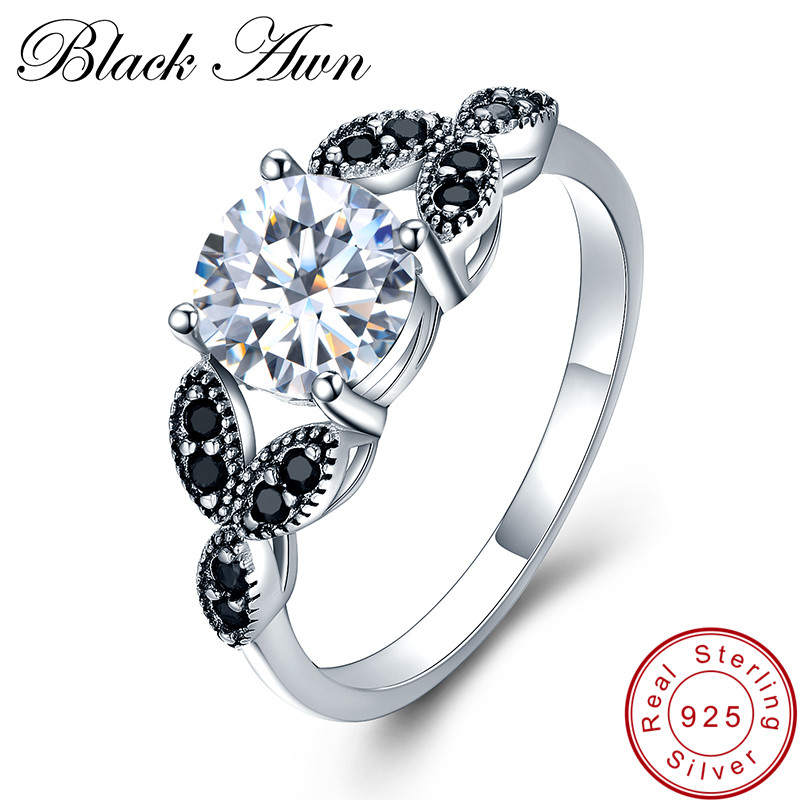 [BLACK AWN] Flower 925 Sterling Silver Fine Jewelry Trendy Engagement Bague for Women Wedding Rings Size 6 7 8 C035