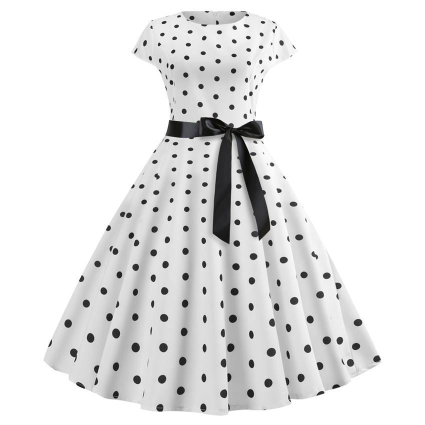2019 New Women Vintage Dress White Polka Dot Summer Dresses Plus Size Pin  Up Print Retro 08c0493b9278