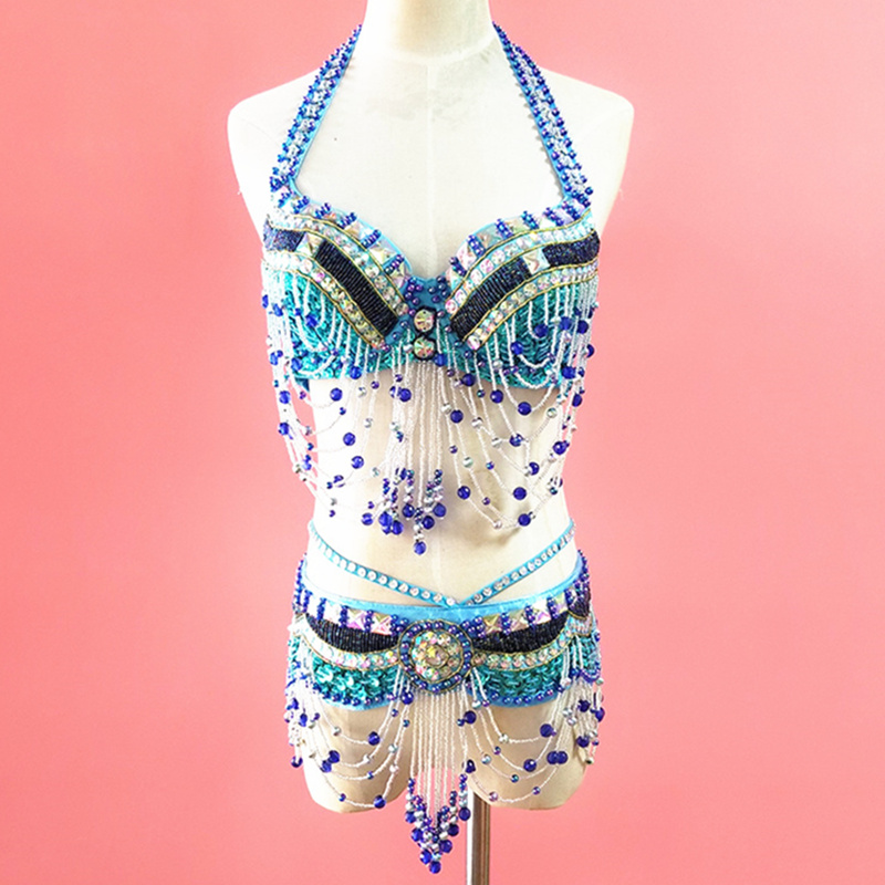 86521b68a Traje Oriental de danza del vientre traje Oriental con cuentas sujetador  cinturón profesional danza ...