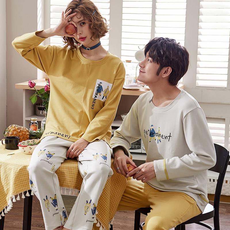 J&Q New 2019 Pajamas Cotton Clothes Leisure Couple Sleepwear Full Sleeves&pants 2 Pcs Pj Set 100% Coton Matching Couple Pajamas