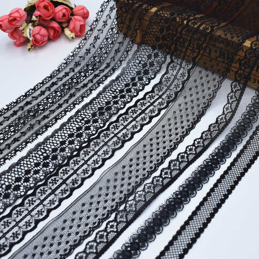 2018 Global Hot Sale 10 yards beautiful black lace ribbon European lace fabric lace sew embroidery dress accessories