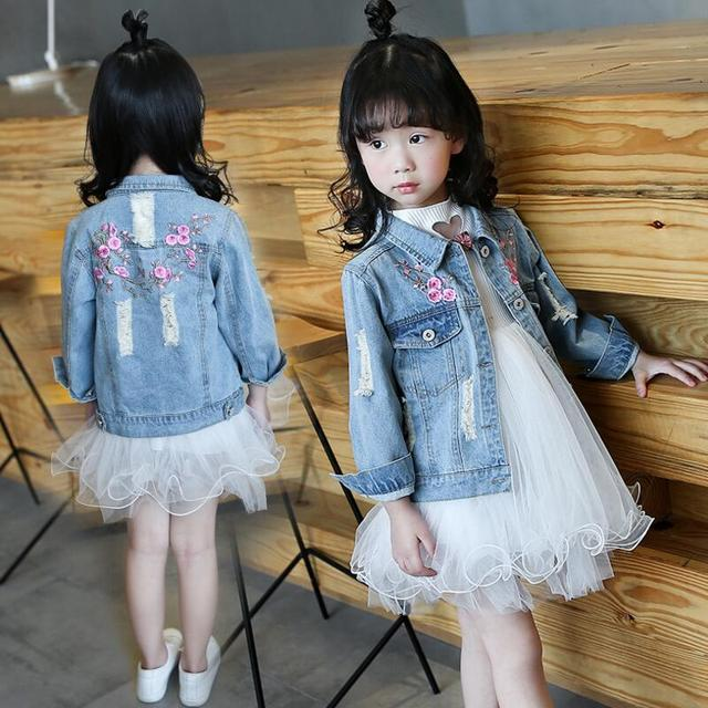 c13ff1546 2017 Spring Autumn Long Sleeve Baby Girl Denim Jacket Kids Jeans Clothes  Embroidery Floral Cardigan Girls Coats Jackets JW2294