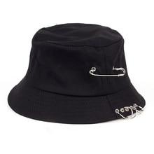 a56f374d VORON Solid Color iron pin rings personality Bucket Hat cap for unisex  women men cotton fishermen