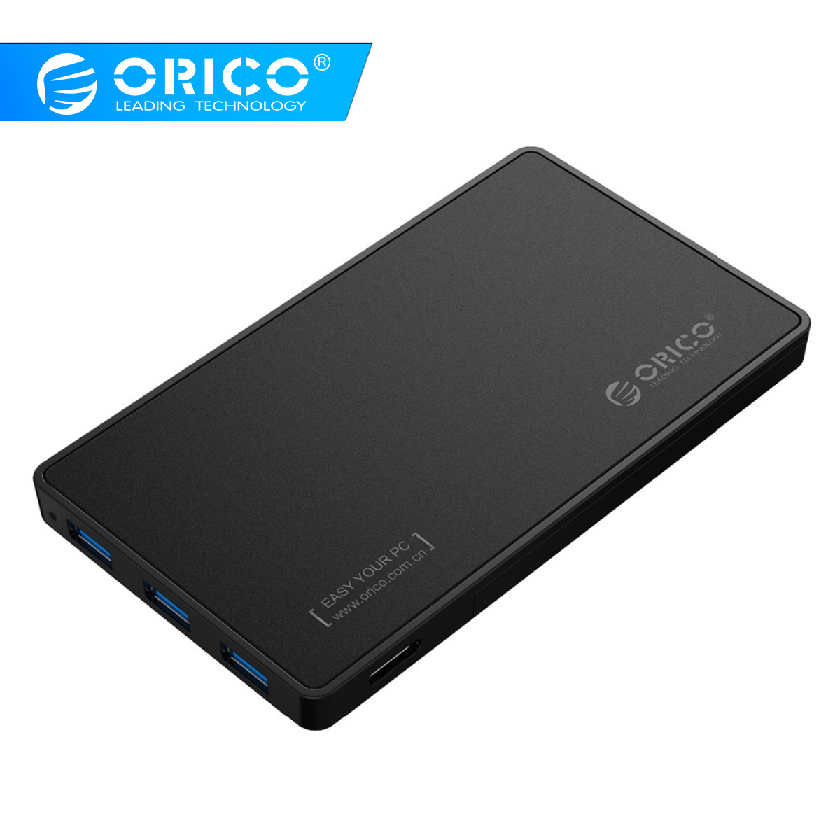 2.5 HDD Enclosure ORICO USB 3.0 Hard Drive Case with 3 Ports USB3.0 HUB Tool Free Design Driver Not Required2.5 HDD Enclosure ORICO USB 3.0 Hard Drive Case with 3 Ports USB3.0 HUB Tool Free Design Driver Not Required