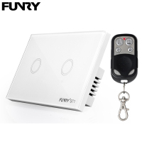 Funry ST1 2Gang US Standard Capacitive Touch Switch Remote Control Luxury Glass Wall Switch Panel Light
