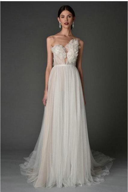 Marchesa Vestido A Linha de Apliques de Noiva Primavera 2017 3D-Floral Urze Asymmetric Sheer Backless Full-Length Vestidos de Casamento 2016